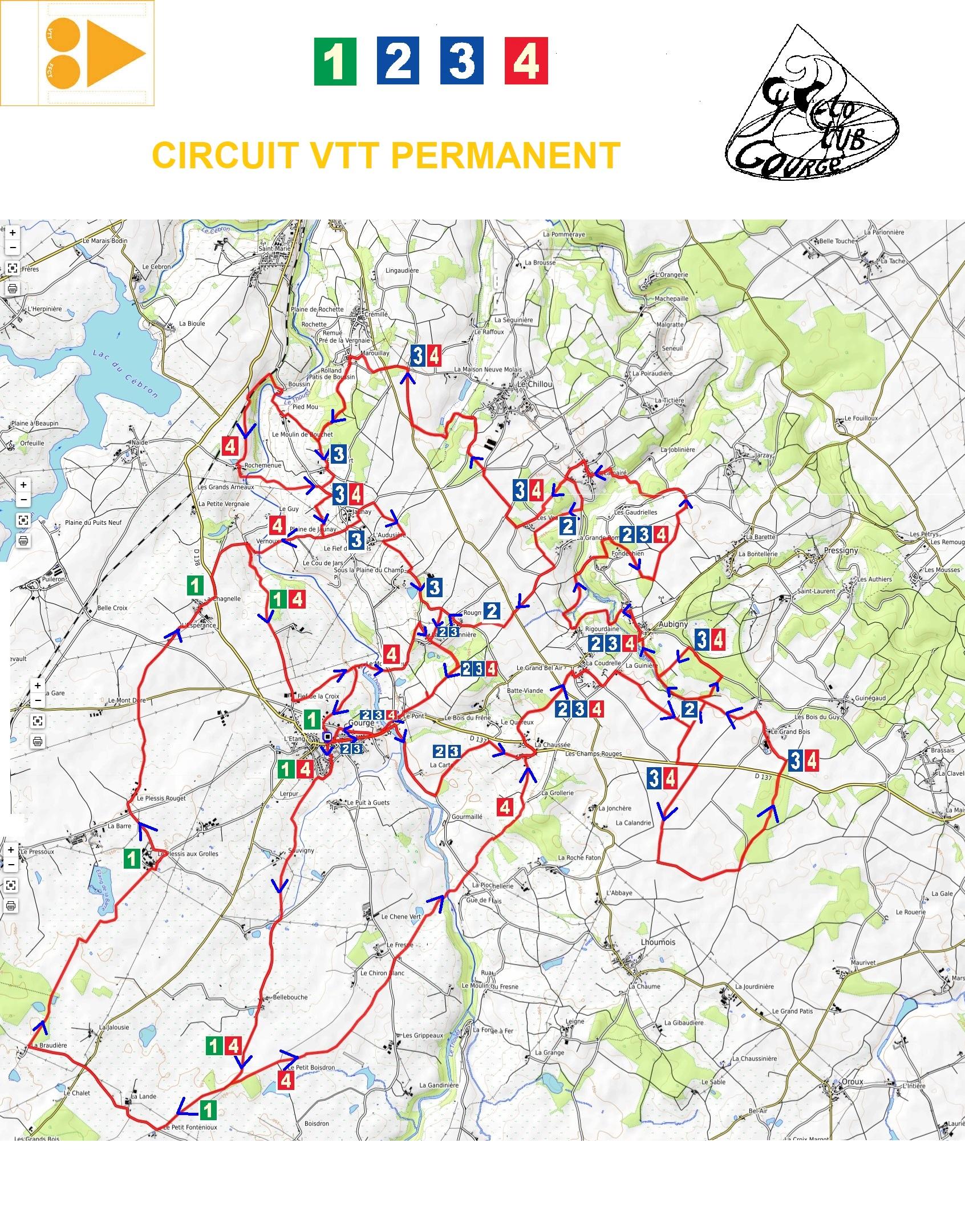 Circuit permanent complet 4 parcours